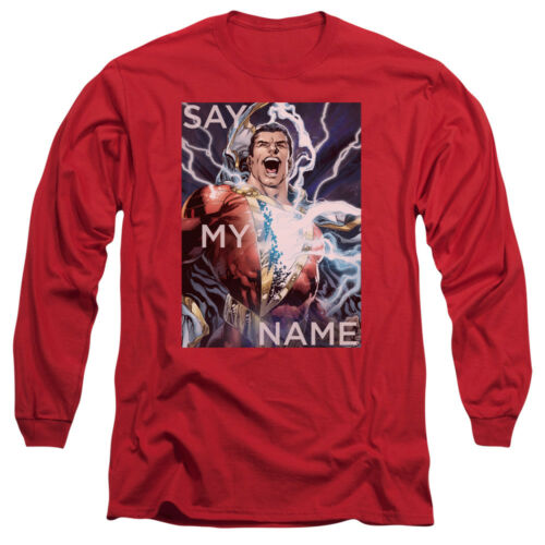 Shazam SAY MY NAME Licensed Adult Long Sleeve T-Shirt S-3XL