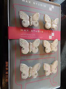 NIB Max Studio Pink Ceramic Floral Drawer Pulls Knobs 6 pc 40/% Price Cut