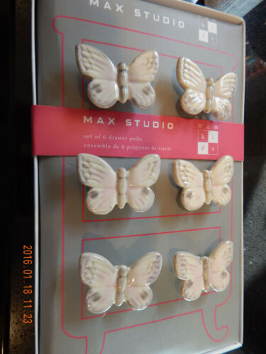 Max Studio Butterfly Knobs//Pulls White Gray Pink 6 pieces 15/% cut NIB