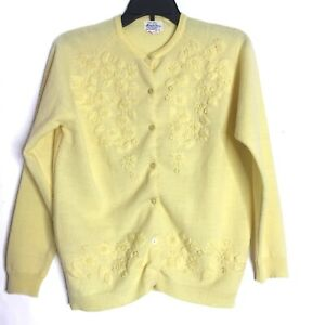 Vintage-Grandma-Yellow-Floral-Embroidered-Cardigan-Sweater-Acrylic-Fibre-Small