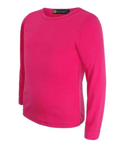 Kids Plain Cotton Basic Top Girls Boys Long Sleeve T-Shirt Crew Tee 3-14 Years