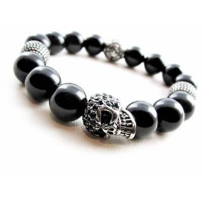 Onyx Armband Edelstahl Beads Totenkopf Skull Damen Herren Bracelet  12 mm Perlen