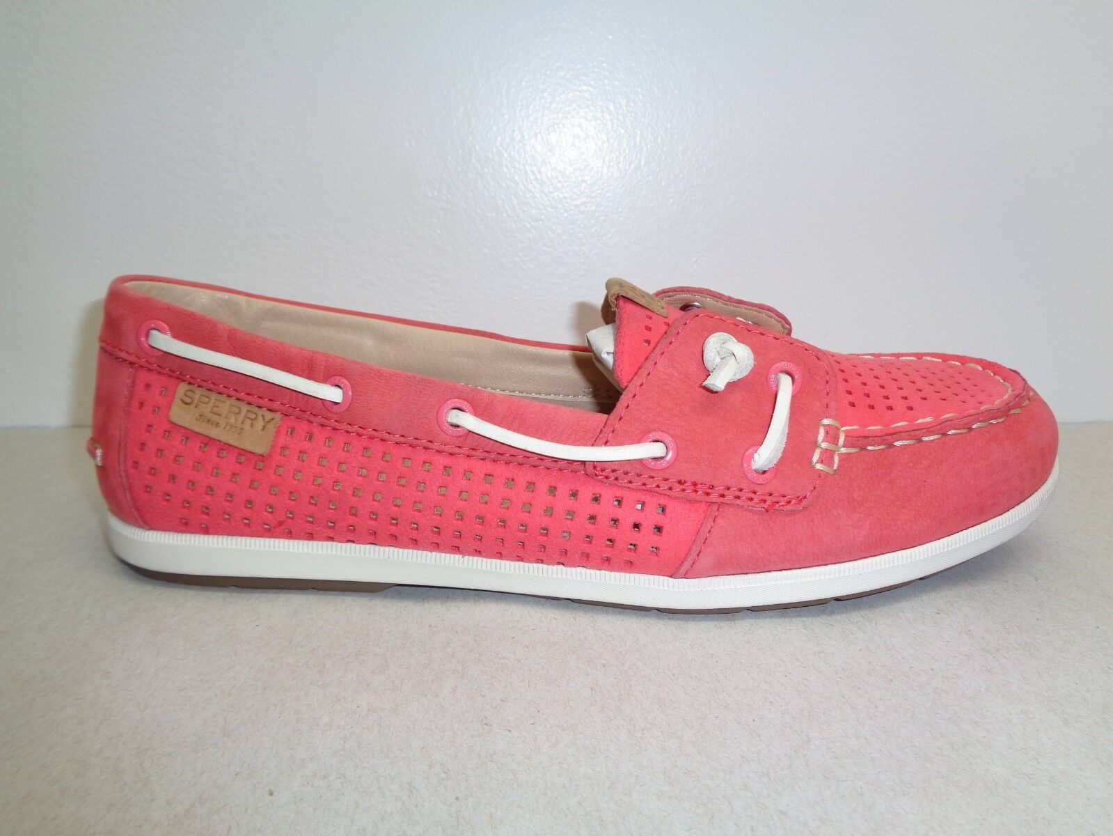 Sperry Top Sider Size 8.5 M COIL IVY PERF Rose Pelle Boat Shoes New Donna