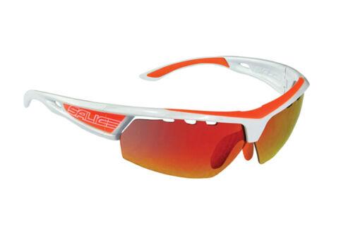 Brille SALICE MOD 005 RW zweifarbig Weiss-Orange Linse Rainbow rot/GLASSES Radsport