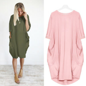 New-Plus-Size-Ladies-Italian-Lagenlook-Quirky-Long-Boho-Pocket-Linen-Tunic-Dress