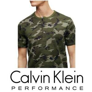 PREMIUM-MEN-039-S-CALVIN-KLEIN-CAMO-SHIRT-FOREST-NIGHT-SHORT-SLEEVE-HENLEY-CASUAL