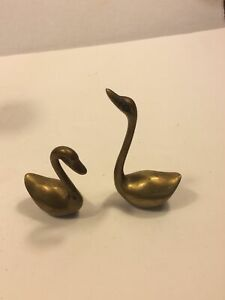 Vintage Mid Century Brass Swans Figurines Sculptures Lot of 2 Preowned