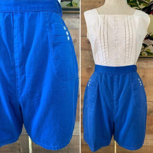 Medium Zipper Closure Cotton 30 in High Waist Waist Pocket Teal Blue Black Gray Plaid Vintage 1950s Shorts