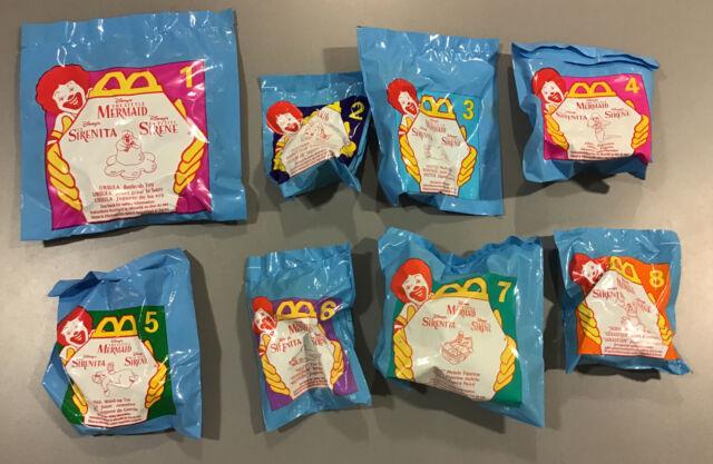 McDonald's 1996 Disney Little Mermaid Happy Meal Toys Complete Set 8 Sealed