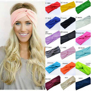 Details about New Women Cotton Turban Twist Knot Head Wrap Headband Twisted  Knotted Hair Band 967a4d3360e