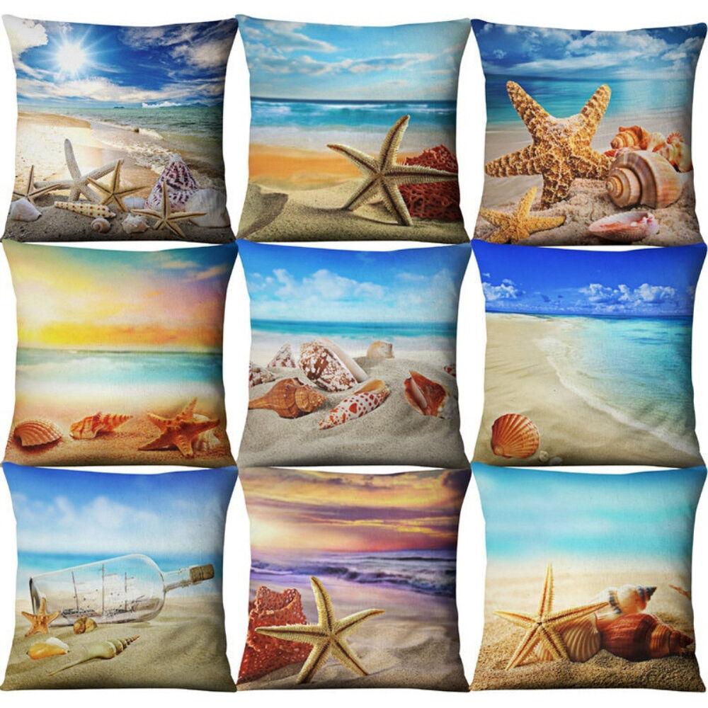 Tropical Beach Linen Throw Cushion Cover Pillow Case Summer Home Decor Welcome Home & Garden