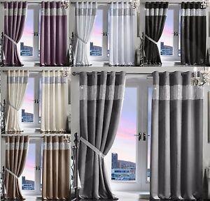 Pair-Luxury-Heavy-Velvet-Style-Diamante-Diamond-Blackout-Thermal-Eyelet-Curtains