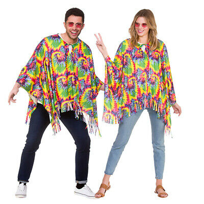 Adult HIPPIE PONCHO 60s 70s Festival Fancy Dress Party Ladies Mens Hippy Mexican