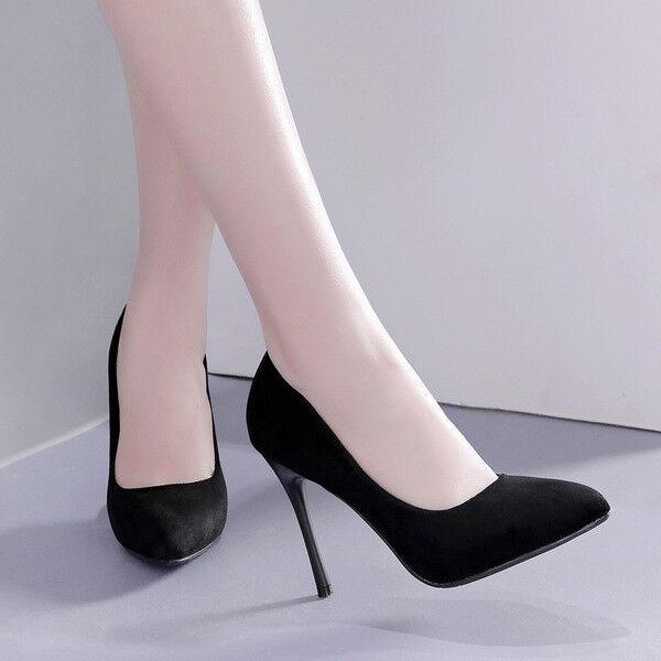 Scarpe decolte eleganti stiletto 10 nero nero nero scamosciato comodi simil pelle 1581 | Ordine economico  823c5b