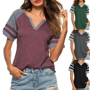 Womens-Summer-Basic-Tee-Raglan-Sleeve-Baseball-Casual-T-Shirt-Jersey-Tops-Blouse