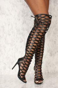 Womens-Black-Laser-Cut-Out-Over-The-Knee-Peep-Toe-Caged-High-Heel-Boots