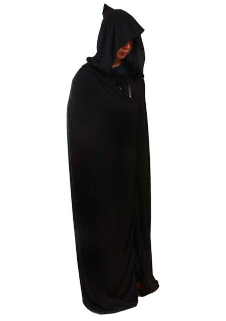 Deluxe Black Hooded Cloak Cape Long Vampire Halloween Fancy Dress Monk Dracula