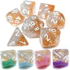 Select Colour 7 Dice Poly Set D20 D/&D Role Play RPG Glitter UNIVERSE Astro
