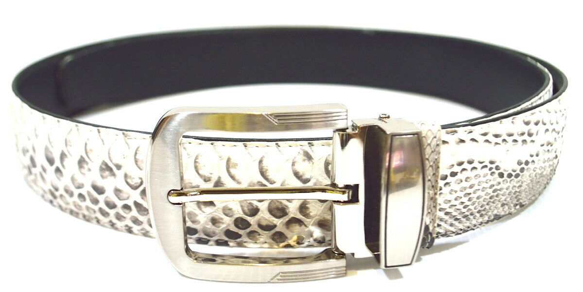 100/% Genuine Python Snake Belly Skin Leather Men/'s Pin Belt Natural White