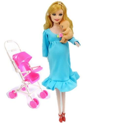 Real Barbie Pregnant Doll Mom Tummy Suits Suit Educational Gift Baby Stroller