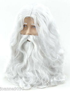 Deluxe-Santa-Fancy-Dress-Costume-White-Wizard-Wig-and-Beard-Christmas-Halloween