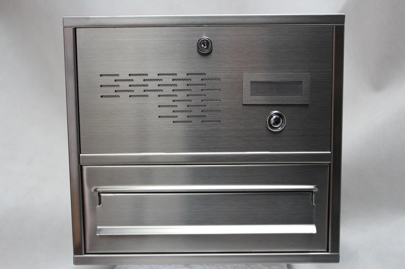 Briefkastenanlage  Mauerdurchwurf Briefkasten m. Klingel  Edelstahl