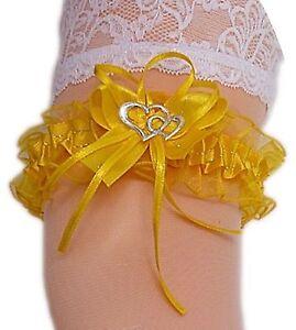 best sneakers d358e 8e53a Details zu XXL Strumpfband Braut gelb mit Schleife Herzchen Silbernaht bis  80 cm Neu EU