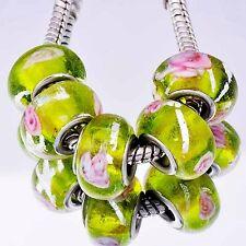 5pcs Green Lampwork Pink Flower Murano Glass Bead European Fit Charm Bracelet