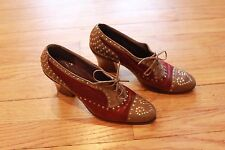 Vintage Womens Leather Shoes Oxford Heel 2 Tone Burgundy Metal Stud Greece 7 1/2