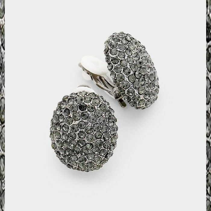 Buttons Stud Clip On Earrings Crystal Rhinestone Prom Wedding Bridal Pageant