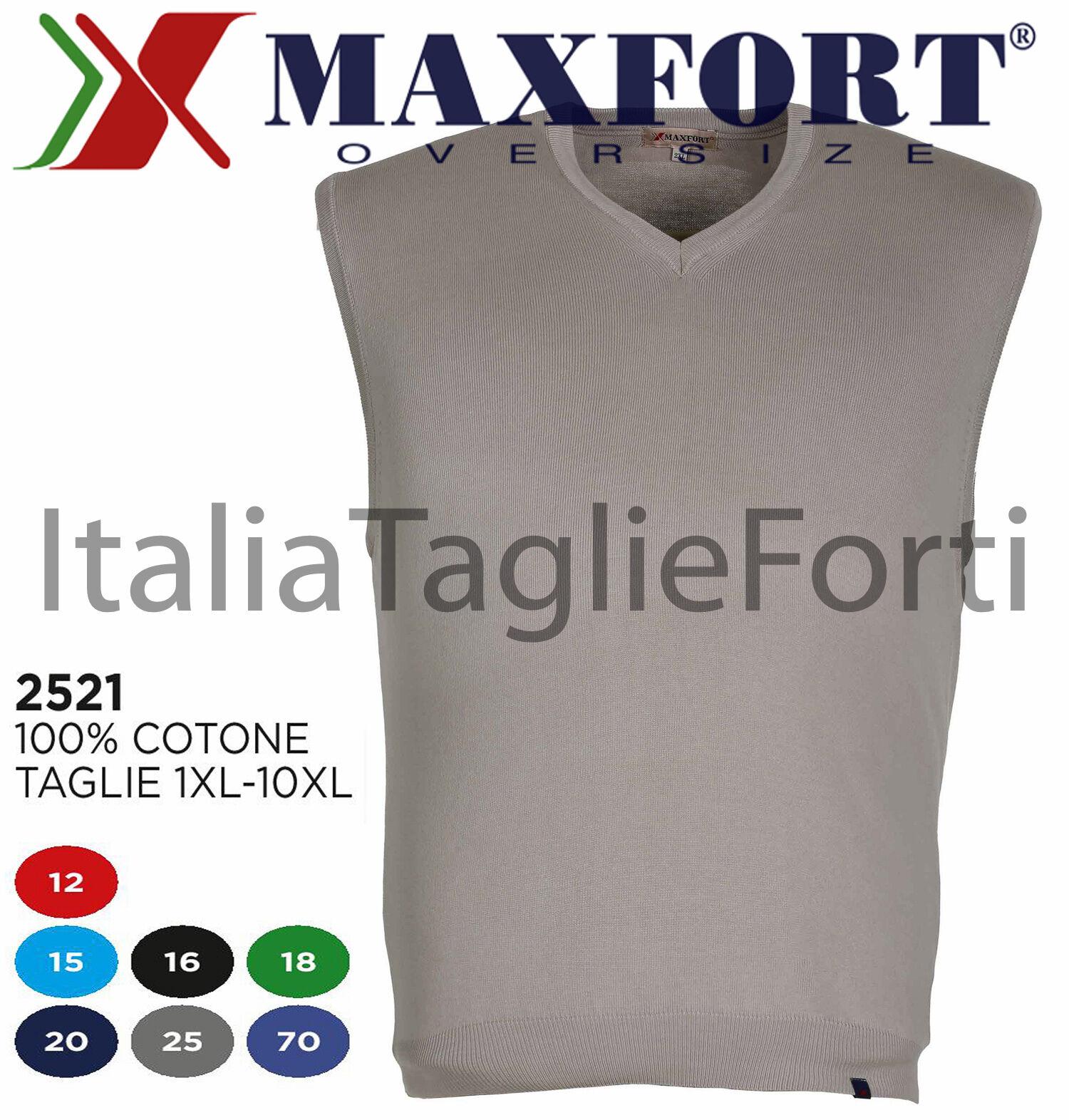 MAXFORT GILET 2521 UOMO COLLO V COTONE PETTINATO MAGLIA XL - 10XL OVER Dimensione