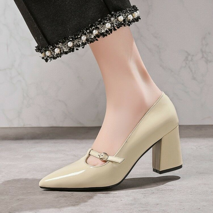 2018 New Spring Elegant Ladies Simple OL Work Block Heels Retro Pointy Toe shoes