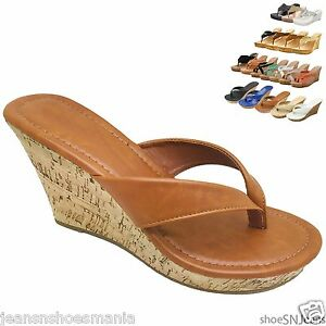 Women's Fashion Platform Wedge Thong Sandals