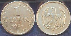 Weimar-1-Mark-1924-e-vz-Fehlpraegung-zu-duenner-Schroetling