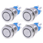 4pcs Green 19mm 12V LED Stainless Switch 5pins Latching Push Button,Waterproof