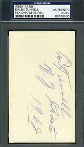 Emlen Tunnell Signed Psa/dna Coa 3x5 Index Card Authenticated Autograph