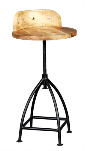 Up-cycled Industrial Wood & Metal Adjustable Height Dining Chair / Stool