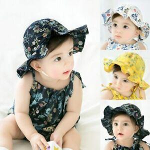 4c2fdfb99950f Baby Bucket Hat Flower Print Cap Girls Kids Summer Outdoor Sun Hat ...
