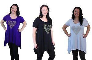 Plus-Size-Ladies-Short-Sleeve-Leopard-Print-Stud-Heart-Long-T-Shirt-Casual-Top