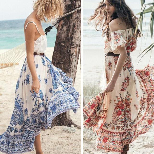 Women s Summer Chiffon Boho Party Evening Beach Dresses Long Maxi Dress  Sundress f059b1a1d