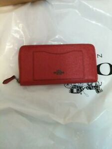 Coach-Accordion-Zip-Wallet-Red-Brand-New-Authentic