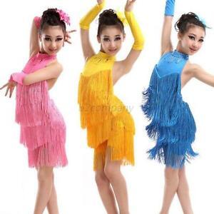2d8a01ba98eb7 Child Girls Kids Dress Tassel Ballroom Latin Salsa Dancewear Party ...