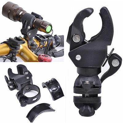 Mountain Bike Bicycle Torch Clip Clamp LED Flashlight Mount Holder Rotation