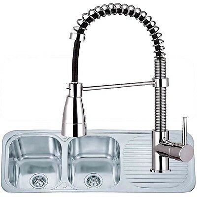 2.0 Bowl Stainless Steel Inset Kitchen Sink & Pro Pull Out Mixer Tap Set(KST053)