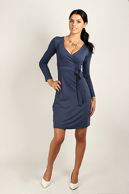 Classic & Elegant Women's Tie Dress V-Neck Cocktail Office Size 8-18 2916