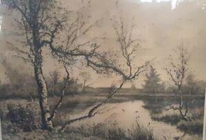 Antique Camille Fonce Etching Landscape Collectible Print 1889