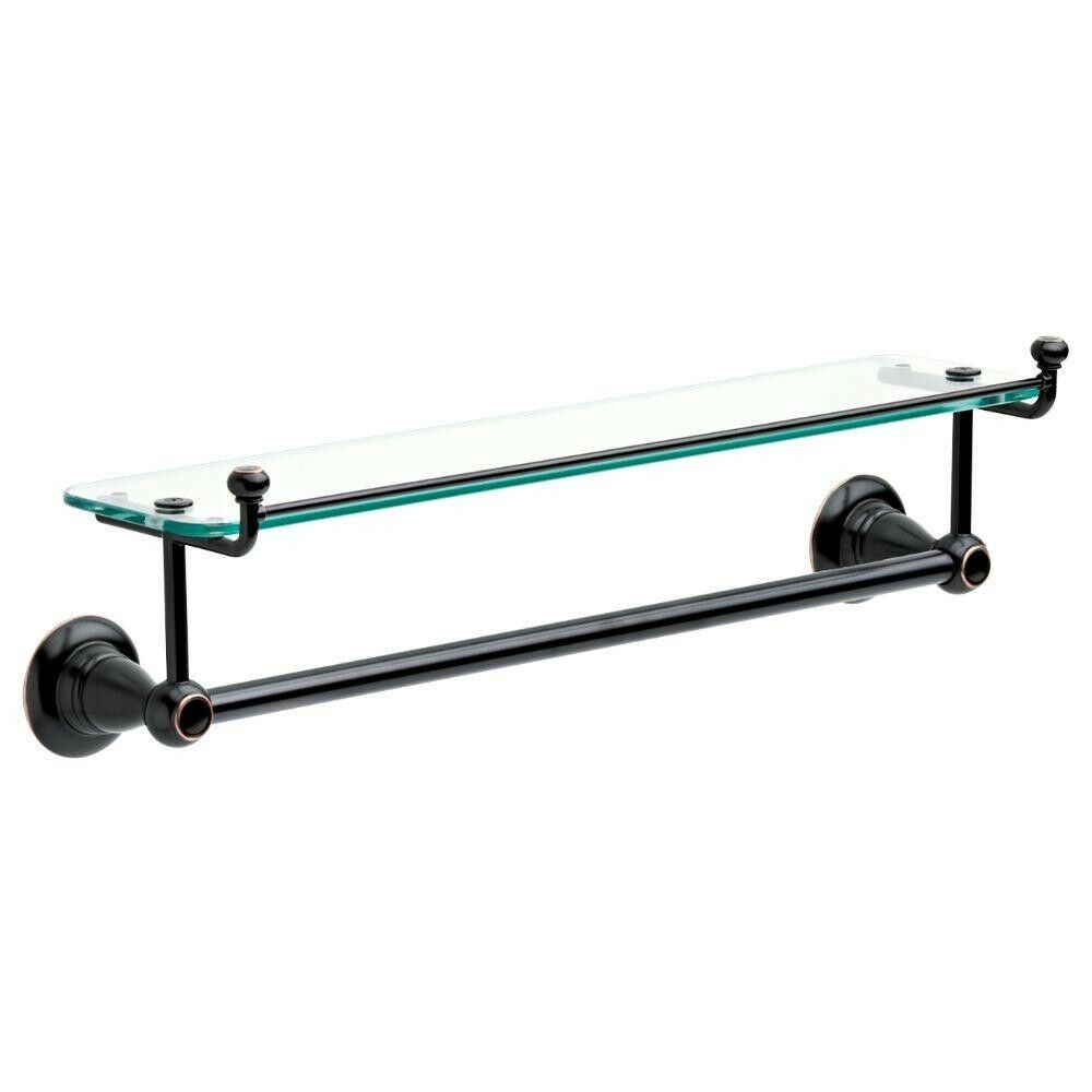18 in. Bathroom Hand Towel Bar Holder Wall Mount Glass Shelf Oil Rubbed Bronze