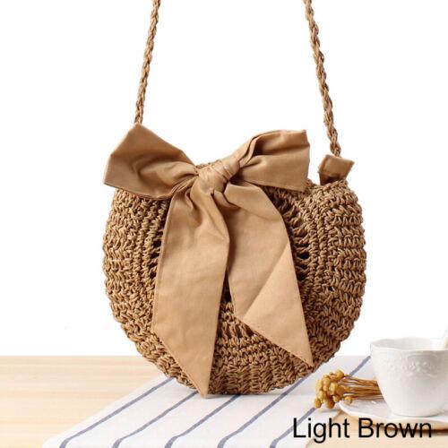 New Women Straw Bag Retro Handbag Rattan Woven Summer Beach Shoulder Bags Tote