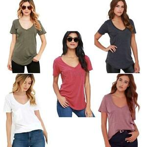 Women-Ladies-Casual-Cotton-Short-Sleeve-Solid-Loose-Basic-Tee-T-shirt-Top-Blouse