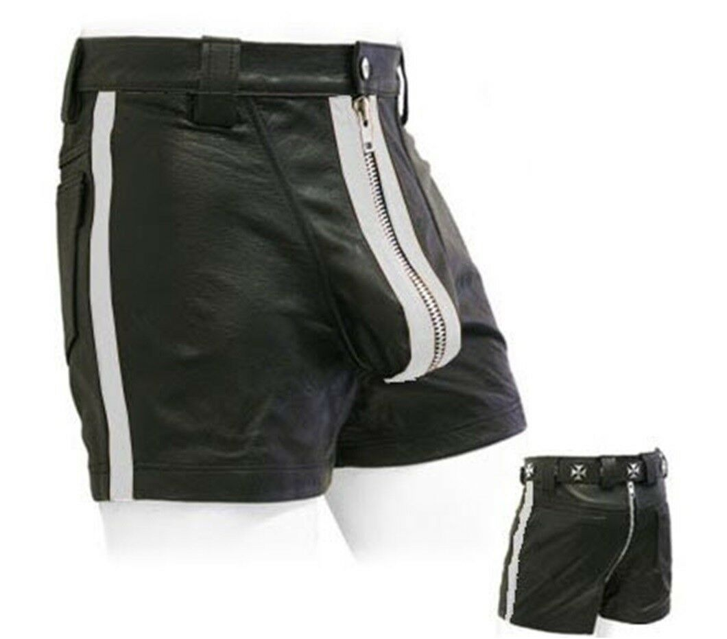 Awanstar Ledershorts whiteen streifen Leder Shorts,Kurze lederhose,leder shorts